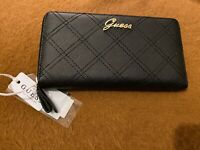 Guess Nevet Large Zip Around Purse Wallet Clutch Black New