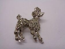 VINTAGE MARACITE STANDARD POODLE BROOCH RED STONE PARTY PROM FESTIVAL
