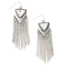 NEW Boho Triad Clear Crystal Chain Fringe Silver Tone Festival Dangle Earrings
