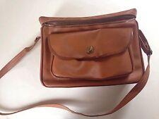 Vintage Faux Leather Camera Bag Brown Plaid Lining Shoulder