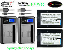 2x3A Battery+Charger for Sony NP-FV30 NP-FV50 NP-FV70 NP-FV100 FDR-AX100 AU-ship