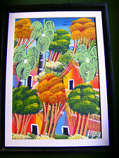 Naive Malerei aus HAITI : Insellandschaft; orig.; sign. ; m. Rahmen : 35 x 45 cm