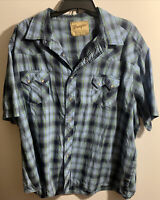 WRANGLER MEN'S PLAID WESTERN STYLE SNAP BUTTON SHORT SLEEVE SHIRT SIZE XXL