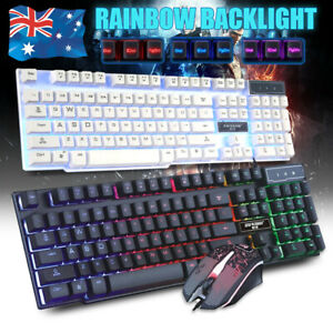 Rainbow Backlight llluminated Gaming Keyboard and 7 Colours Mouse USB PC Laptop