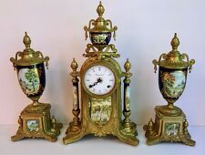Antique Style Franz Hermle Brass 3pc Clock Garniture Set Porcelain Mounted