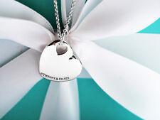 Tiffany & Co dos corazones colgante de plata de ley collar 40.6cm