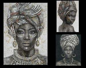 1x African Lady Woman Canvas Print Painting Art Home Decor 70x100cm 5 Designs