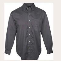 TRI MOUNTAIN Men's Long Sleeve Charcoal Gray Twill Shirt Teflon Sz 2XL NWT
