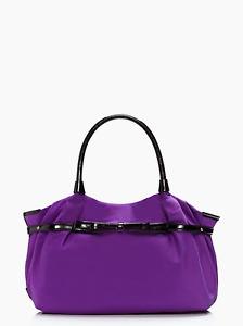 "Kate Spade NY ""BOWRAMA"" Stevie Shoulder Handbag BLACK PURPLE NYLON patent"