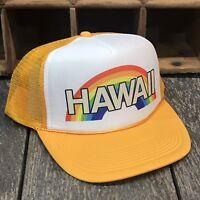 Hawaii Rainbow Trucker Hat Vintage 80's Style Snapback Cap Vacation Beach Party