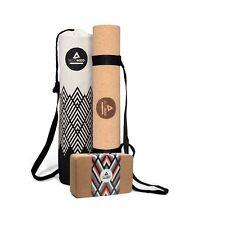 Yogamatte aus Kork & Kautschuk 3mm, inkl. Yoga Block & Yogatasche aus Leinen