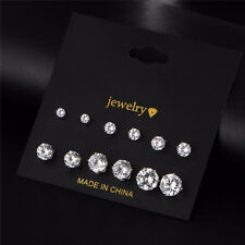 6Pair/12pc 0.3-0.8cm Donna Crown Cristallo Argento Orecchini Ear stud Set