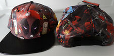 Deadpool Guns Pointing Marvel Comics Faux Leather Printed PU Snap Back Hat Nwt
