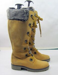 91335 Timberland BROWN Leather lace up KNEE Boots WOMEN Size 8.5 - 8