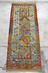 Afghan Kundoz Handmade Nomadic Tribal Red Multi Color Wool Kilim Runner 70x194cm