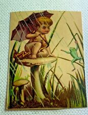 A Victorian Advertising Card Dalley's Magical Pain Girl Umbrella Frog N86