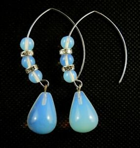 Opalite Gemstone Water Drop Dangle Earrings with Oval Hooks and Beads #2130