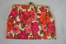 VINTAGE 1960s pink floral satin purse make up cosmetic bag