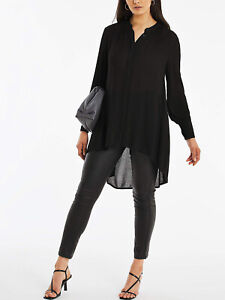 Capsule Black Dipped Back Crinkle Shirt in Sizes 18, 20, 22, 24, 26, 30