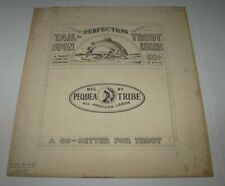 Vintage Pequea Tribe Original Art TAIL-SPIN TROUT LURES Ad By Gustav Demuth