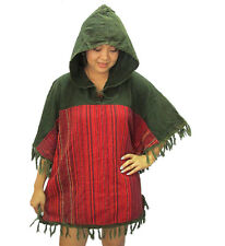Peasant Boho Hand Woven Cotton Hooded Maxican Poncho/Sweater with Fringe T0288