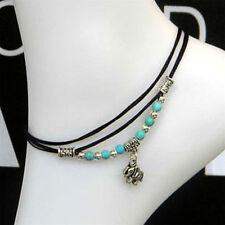 "Anklet ""Elephant"" Antique Silver with Turquoise Bead Chain Foot Leather Bracelet"