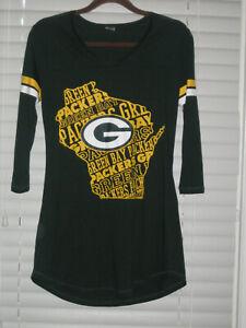 Green Bay Packers LS Sleep Shirt, Green, Woman's Small, NWOT