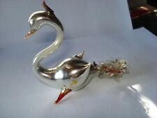 "ANTIQUE HANDBLOWN GLASS MERCURY GLASS BIRD SWAN 3"" CHRISTMAS ORNAMENT"