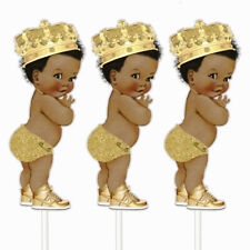 3 Gold Prince Centerpieces, African American Prince Table Decor