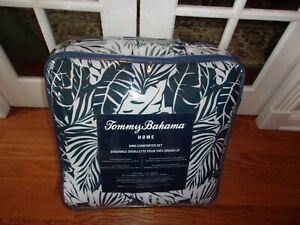 NIP Tommy Bahama Harbour Palm Navy White King Comforter & Shams Set 3pc