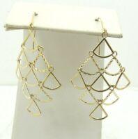 "14K Yellow Gold Smooth & Diamond Cut Triangle Link Dangle Earrings 1.7"" D1716-19"