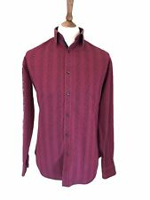 JEFF BANKS 39-41 INCH CHEST DEEP RED PAISLEY PATTERN CASUAL SHIRT,PURE COTTON.