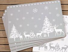 Set Sets Tischset Platzset grau weiß Winter Weihnachten Untersetzer Hirsch #428a