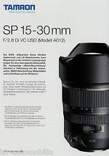 Prospetto TAMRON Obiettivo SP 15-30mm f/2.8 di VC USD a012 2014 obiettivo prospetto