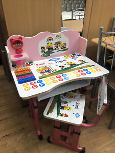 Height Adjustable Study Desk Table Chair Set For Kids Children Drawing Pink