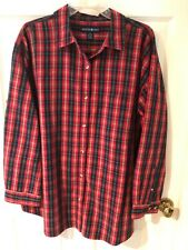 Mountain Lake Women's Black and Red Plaid Long Sleeve Button Up Collar Shirt 2X