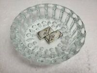 Vintage Glass Ashtray Starburst Sunburst Hobnail Diamond Crystal Mid Century