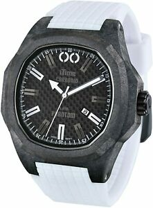 iTime Unisex Quartz Watch with Black Dial Analogue Display and White Silicone St