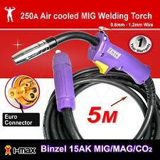 Binzel 15AK MIG/MAG/CO2 Welder Welding Machine Torch Euro Connector 5M 5 metre