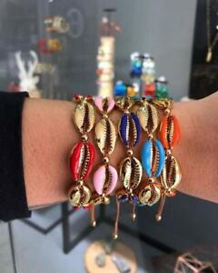Bracelet  Sea shells   Anklet Boho Women Beach Jewelry Cowrie  Gold Plated UK