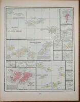 "Vintage 1901 ATLANTIC OCEAN ISLANDS Atlas Map 11""x14"" ~ Old Antique CANARY IS."