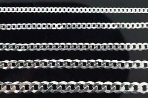 925 Sterling Silver Italian Cuban Link CURB Chain Pendant Necklace Italy 4mm-8mm
