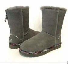 Uggs Womens Boots Short Rock Gray Plaid Trim Back Zipper Studded Size 6