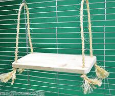 Legno + Sisal Corda Swing Shelf-Giocattolo per RAT CINCILLA 'octodon degus Parrot Cage Furniture