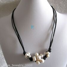 """22"""" 9-13mm White Freshwater Pearl Necklace Black Leather Necklace"""
