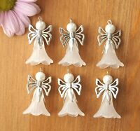 KIT Make Your Own 20 Large White Angel Charms Pendants Frosted Flowers 40mm