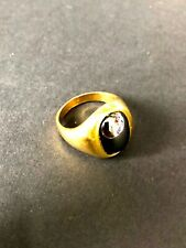 Vintage 80's Gold and Black/Grey Stone Costume Jewellery Ring Size N