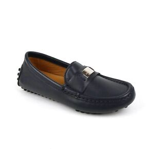 Gucci Kid's Dark Blue Leather Loafer with Silver Plaque 28 / US 11 356008 4009