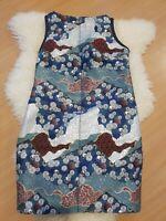 £1200 PROENZA SCHOULDER Luxury Brocade Blue Planet Dress Uk 8