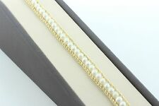 """14K Yellow Gold Double Rope Chain Pearl Bracelet - 7.25"""" 9MM"""